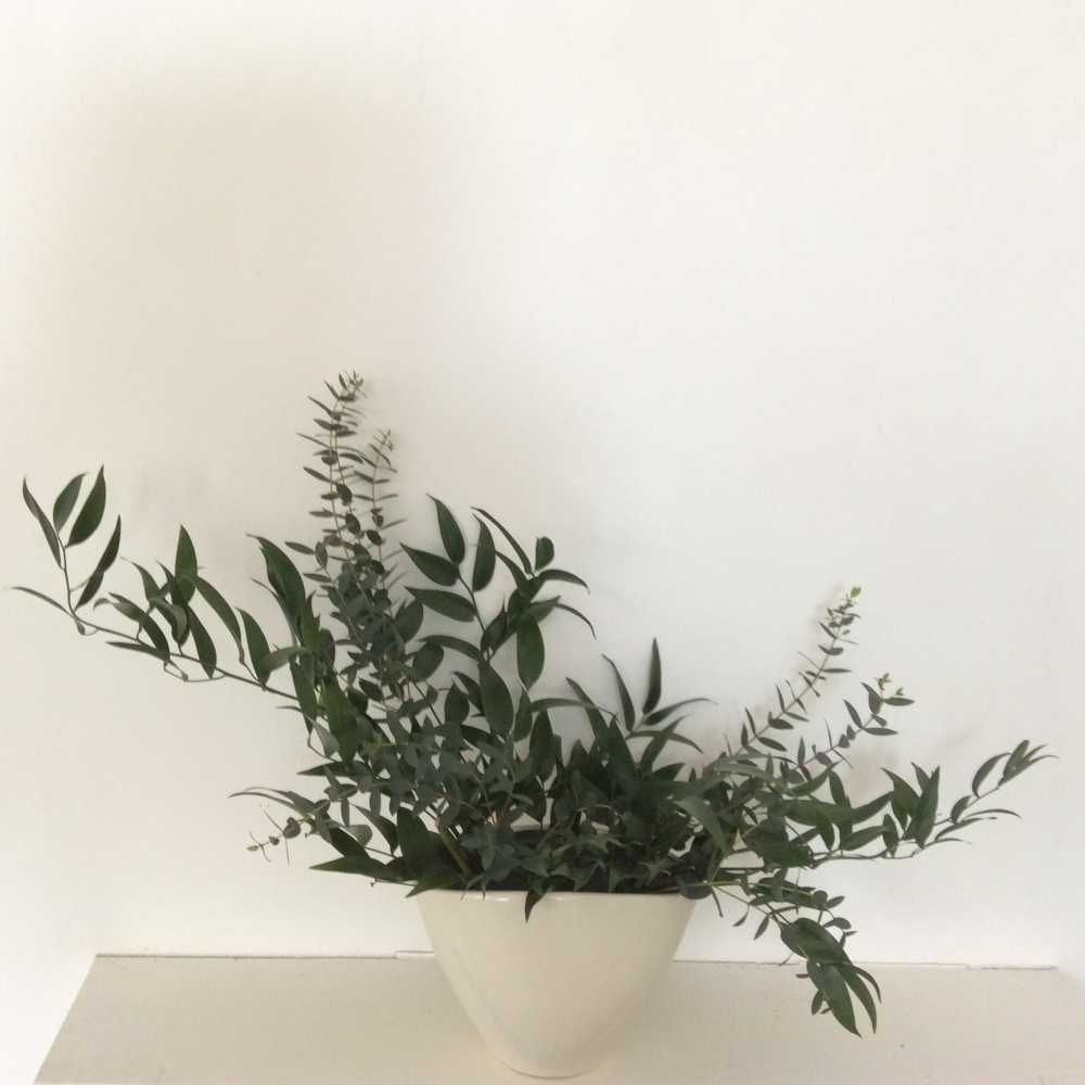 Soft ruscus and eucalyptus